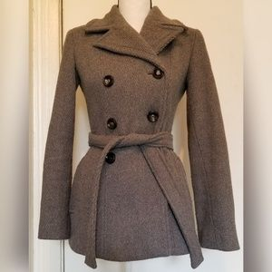 Calvin Klein Solid Gray Wool Pea Coat Belted
